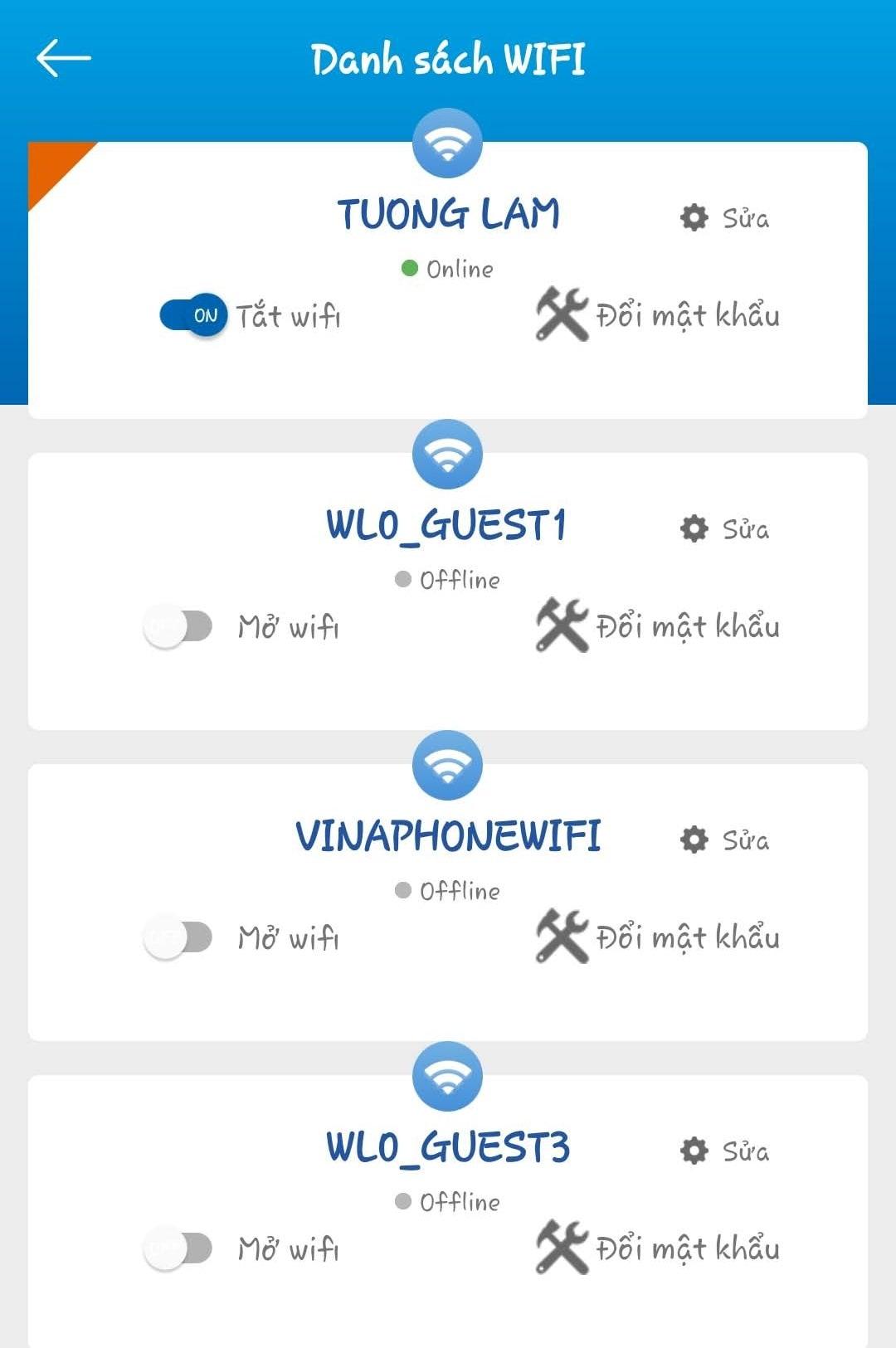 Danh sách wifi trên modem
